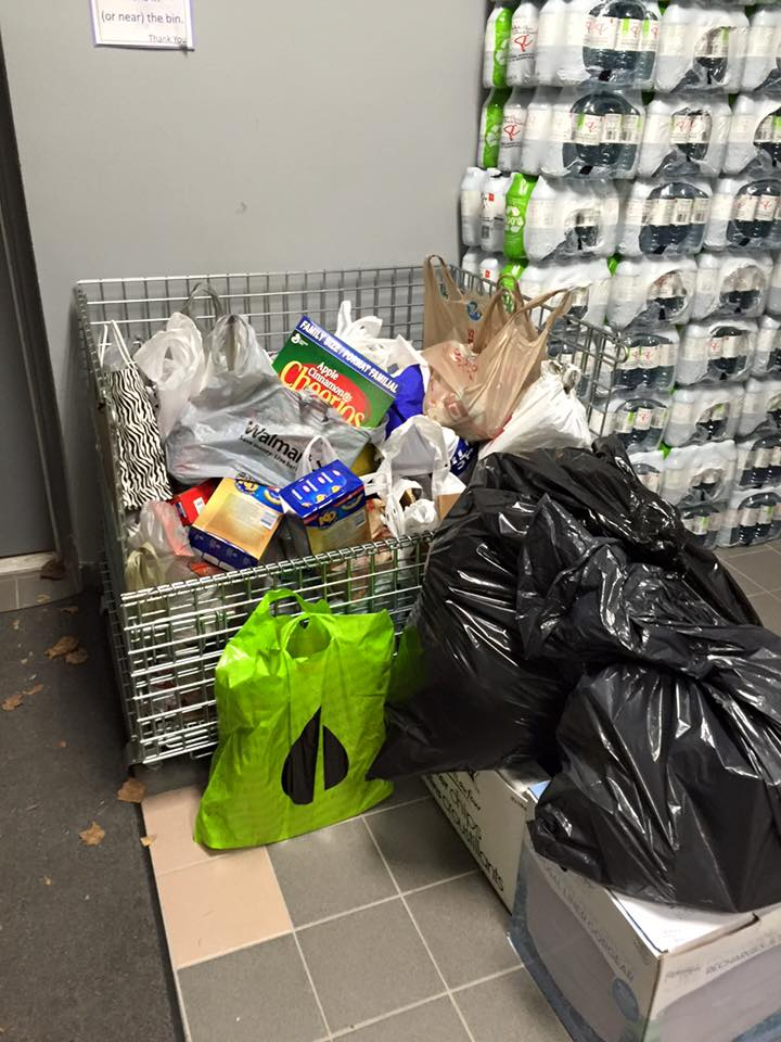 With still about ¼ of the audience left to arrive bearing goods, the bin at the Food Bank was filling up very nicely indeed!