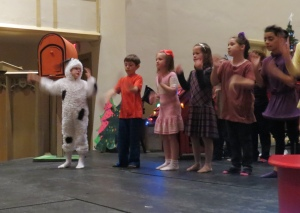 Dress Rehearsal: The Peanuts gang in one of the first songs.