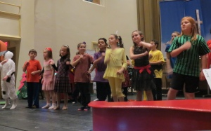 Dress Rehearsal:  The Peanuts Gang in song.