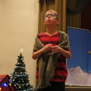 Lex (Linus) in his big speech.  Temporary blanket in use for dress rehearsal.